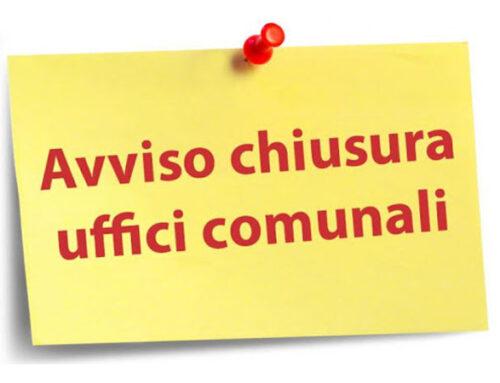 AVVISO CHIUSURA UFFICI COMUNALI VENERDI' 8 MAGGIO 2020