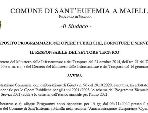 AVVISO DEPOSITO PROGRAMMAZIONE OPERE PUBBLICHE, FORNITURE E SERVIZI 2021/2023